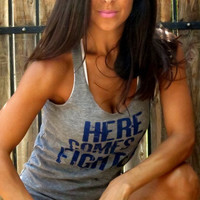 Here Comes a Fighter. Eco-Heather Workout Tank. Size MEDIUM.