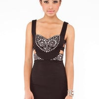 Bejeweled Bustier Dress in Black :: tobi