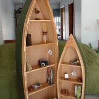 6 Foot Handcrafted Wood Row Boat Bookshelf Bookcase by spinad1