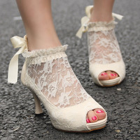 Womens Lace Wedding Bridal Ankle Peep Toe Elegant Heels Pumps Shoes New Size US