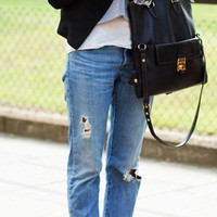 S T Y L E . / blazer. jeans. oxfords. bag.