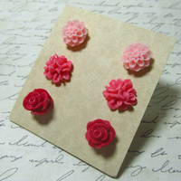 Flower Stud Set Dark Pink Coral & Light Pink Mum by EbonFlow