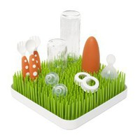 Boon Grass Countertop Drying Rack Spring Green and White
