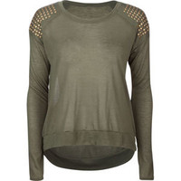 FULL TILT Studded Shoulder Womens Tee 214887531 | Knit Tops & Tees | Tillys.com
