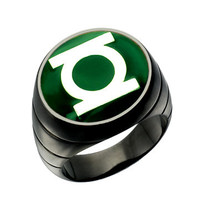 Green Lantern Ring Silver Green Blackest Night Style Jewelry