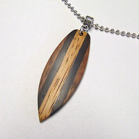 Custom Exotic Wood Handmade Mini-Surfboard Necklace