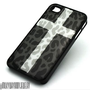 BLACK Snap On Case iPhone 4 4S Plastic Cover SNOW CROSS LEOPARD cheetah Print
