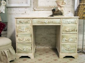 EcoVolveNow Vintage Painted Cottage Shabby Tea Stained Desk