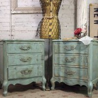 EcoVolveNow Vintage Painted Cottage Aqua Chic French Provincial Night Tables