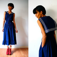 Vtg Nautical Retro Sailor Button Down Back Flap Drawstring Maxi Dress