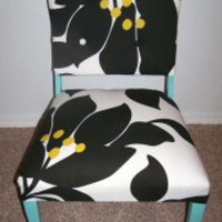 EcoVolveNow Tasty Turquoise Tulips Upholstered Side Chair