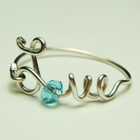love wire ring sterling silver   baby blue faceted by keoops8