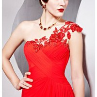 Raja Red Sweetheart Cut One Shoulder Dress