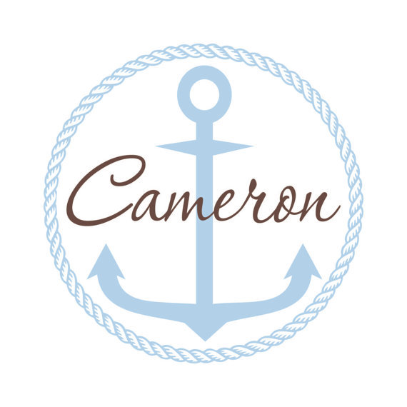 Personalized Vinyl Nautical Theme Name Wall Decal - Sailboat Anchor & Rope Border - Baby Boy Nursery Toddler Teen Room 22H x 22W BN017