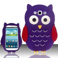 SAMSUNG GALAXY S3 S III SOFT COVER PHONE SKIN CASE 3D RED PURPLE OWL CARTOON