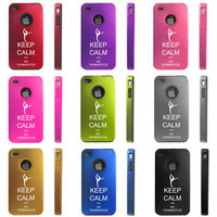 Apple iPhone 4 4S 4G Dual Layer Aluminum Silicone Hard Case Keep Calm Gymnastics