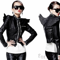 Womens Punk 3D Angel Wings Zips PU Leather Close-fitting Motorcycle Jacket