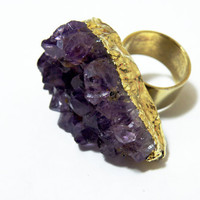 Gold Plated Amethyst Cluster RIng by nubambu on Etsy