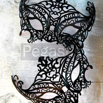 BLACK Mask (1 Mask) Matte Black Lace Painted Filigree Pattern Venetian Mask base - Masquerade ball costume or elven wedding