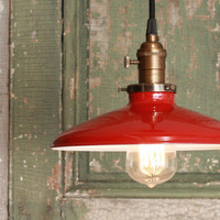 Pendant Light With Red Enamel Shade by lucentlampworks on Etsy