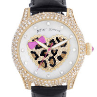 Betsey Johnson Heart Dial Pav Crystal Watch | Nordstrom