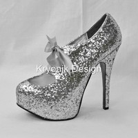 Bordello shoes Teeze-10G silver glitter platform pumps stiletto heels bow 6-12