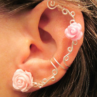 Non Pierced Cartilage Ear Cuff  &quot;Roses are Romantic&quot; Conch Cuff Silver tone