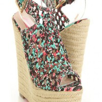 Aztec Multi Printed Fabric Woven Peep Toe Espadrille Wedges