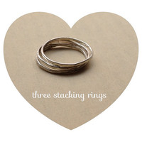 THREE sterling silver stacking rings, hammered thin rings