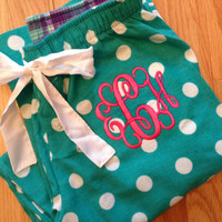Monogrammed Pajama Pants - Teal and white polka dots