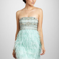 ideeli | SUE WONG Short Strapless Dress with Feathers