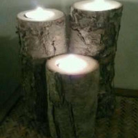 Tealight Candle Holder Log Indoor or Outdoor by DeerwoodCreekGifts