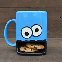Googly Eyed Monster Ceramic Cookie and Milk Dunk Mug - Made to Order