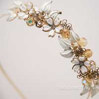wedding headband, vintage jewelery flowers wedding headpiece, holiday accessories