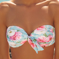 peony Swimwear — Ruched Bandeau in Dreamtime Floral