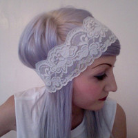 Dainty romantic stretchy soft pastel BABY BLUE LACE simple headband