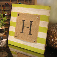 Monogram Sign / Letter Sign / Chevron / Antique / Vintage / Rustic / Initials / Custom Sign / Cottage Chic / Paris Apartment / Stripes