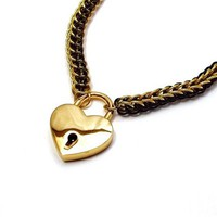 Black and Gold Chainmail Choker Necklace with Heart Shaped Padlock