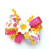 Girls Pink and Yellow Hair Bow, Stacked, ladybugs, polka dots,
