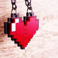 Pixel Heart Zelda Acrylic Plastic for couple and gamer 8 bits design for couple and gamer