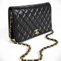 WGACA Vintage Chanel Black Full Flap Bag