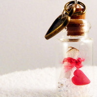 MESSAGE IN A BOTTLE Necklace Personalized Bottle by dinkydodger