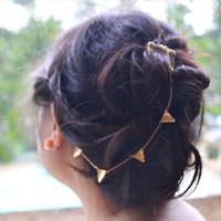 Golden Flags Hair Comb Ear Cuff