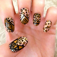 Tribal/Aztec Leopard Print Fake Nails