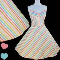 Rockabilly Rainbow 50s Pinup FULL SKIRT Swing Dress L Retro Stripes Prom Party | eBay