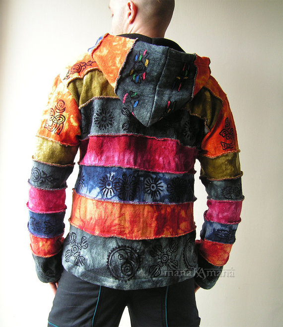 Cotton Knitted Rainbow Patchwork Jacket - from manaKAmana on Etsy