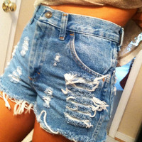 High waisted medium blue shorts waist sizes 22,23,24,25,26,27,28,29,30,31,32 available and young girls sizes too