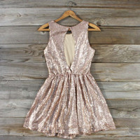Rose Quartz Glittering Party Dress, Sweet Women&#x27;s Bohemian Clothing