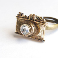 Brass Camera Ring With Swarovski Crystal