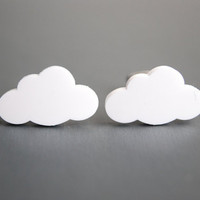 White Cloud Earrings. Cloud Stud Earrings
